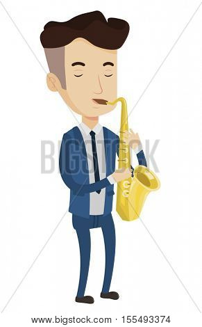 Pleased musician playing on saxophone. Musician with his eyes closed playing on saxophone. Caucasian musician with saxophone. Vector flat design illustration isolated on white background.