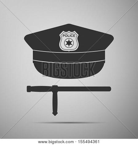 Police cap and baton flat icon on grey background. Policeman uniform. Vector Illustration