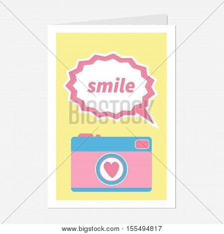 Photo Camera in flat design style. Pink heart. Text bubble smile. Love greeting card. Yellow background. Vector illustration