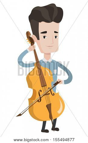 Young happy caucasian musician playing cello. Cellist playing classical music on cello. Young smiling musician with cello and bow. Vector flat design illustration isolated on white background.