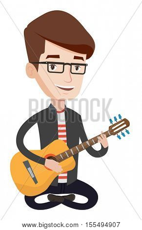 Friendly musician sitting with guitar in hands. Caucasian musician playing an acoustic guitar. Guitarist practicing in playing guitar. Vector flat design illustration isolated on white background.
