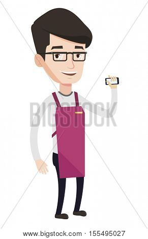 Caucasian small business owner. Small business owner using mobile phone to take orders. Small business owner holding mobile phone. Vector flat design illustration in the circle isolated on background.