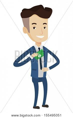 Caucasian businessman putting money bribe in his pocket. Businessman hiding money bribe in jacket pocket. Bribery and corruption concept. Vector flat design illustration isolated on white background.