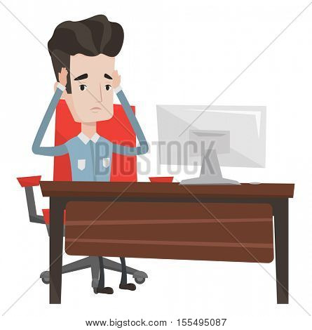 Stressed office worker. Overworked businessman feeling stress from work. Stressful employee sitting at workplace. Stress at work concept. Vector flat design illustration isolated on white background.