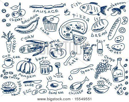 set of food doodles vector