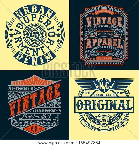 Set of Vintage typography, t-shirt graphics, apparel stamps, tee print design, vintage emblems of denim goods, vector