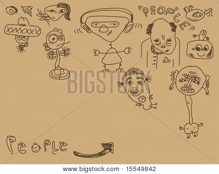 Set of hand drawn people Vector. Visit my portfolio for big collection of doodles