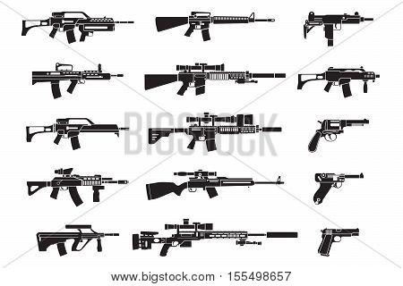 Gun icons set. Handgun rifle and pistol icons. Vector illustration