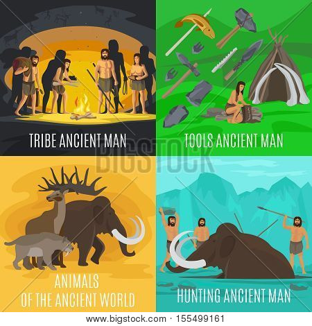 Ancient prehistoric stone age concepts. Primitive tools and mammoth hunting, making fire in cave vector illustration