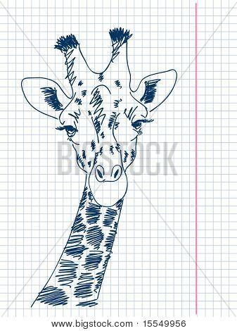 Jirafa dibujado Vector de mano. Visita mi portfolio para la gran colección de garabatos