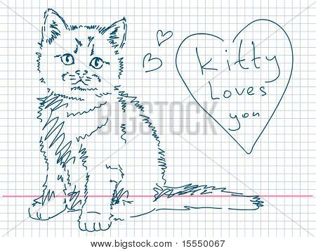 Hand drawn kitty. Visit my portfolio for big collection of doodles