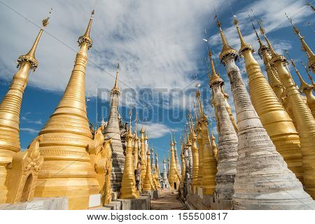 Shwe Indien the group of ancient pagoda in Inle lake of Myanmar.