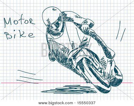Hand drawn motorbike Vector