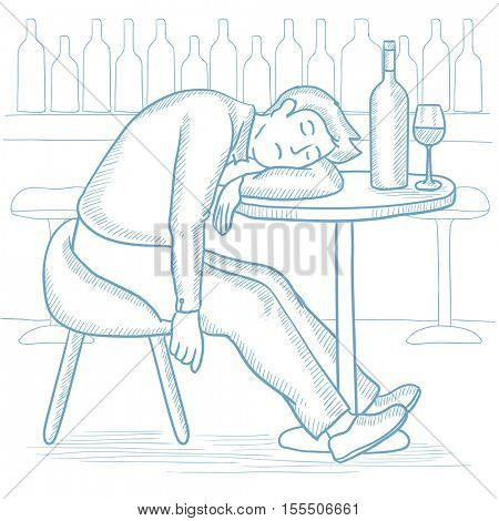 Caucasian drunk man deeply sleeping near the bottle of wine and glass on table in bar. Drunk man sleeping in bar. Alcohol addiction concept. Hand drawn vector sketch illustration on white background.
