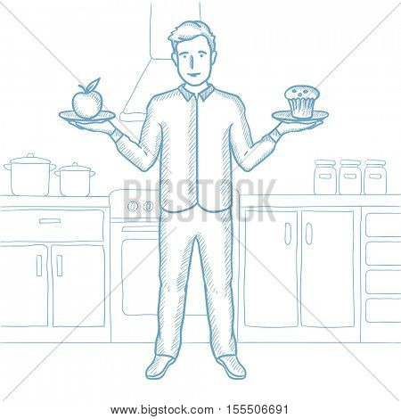 Man with apple and cupcake in hands in the kitchen. Man choosing between apple and cupcake. Man choosing between healthy and unhealthy food. Hand drawn vector sketch illustration on white background.