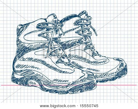 Hand drawn hiking boots Vector