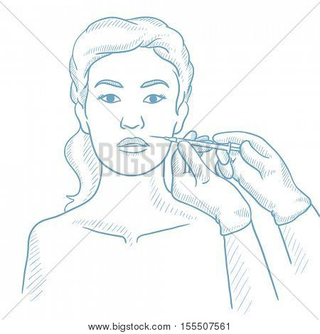 Woman getting cosmetic injection in her face in beauty salon. Woman during beauty facial procedures. Woman receiving beauty facial injections. Hand drawn vector sketch illustration on white background