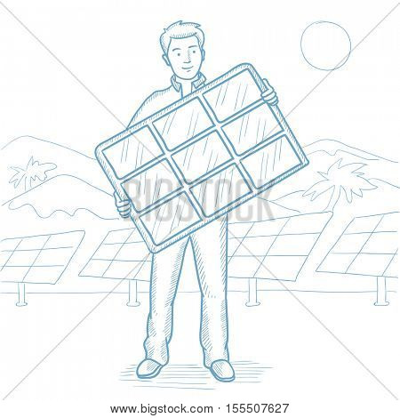 Man holding solar panel on solar power plant background. Man with solar panel on the background of solar power plant. Green energy concept. Hand drawn vector sketch illustration on white background.