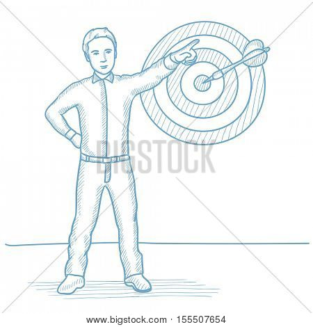 Caucasian businessman pointing at arrow in a target board. Businessman hitting at the center of target board. Targeting and goal concept. Hand drawn vector sketch illustration on white background.