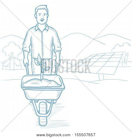 Man carrying wheelbarrow with plant on the background of solar power plant. Worker of solar power plant pushing wheelbarrow with plant. Hand drawn vector sketch illustration on white background.