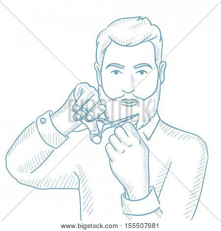 Caucasian unshaven man with long beard and moustache holding sharp scissors. Young hipster man cutting his beard and moustache with scissors. Hand drawn vector sketch illustration on white background.