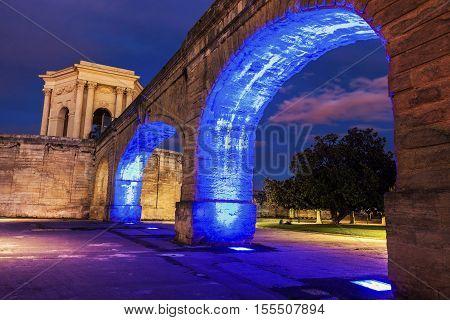 Saint Clement Aqueduct and Pavillon du Peyrou in Montpellier. Montpellier Occitanie France.