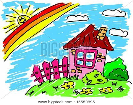 house under rainbow. Visit my portfolio for big collection of doodles