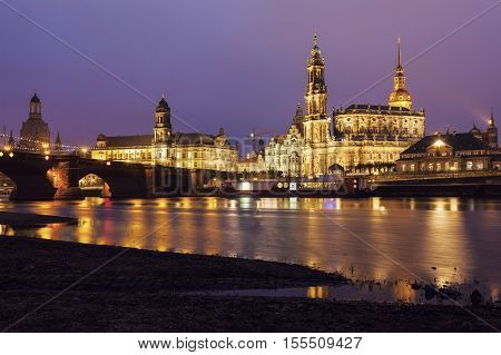 Dresden architecture across Elbe River. Dresden Saxony Germany.