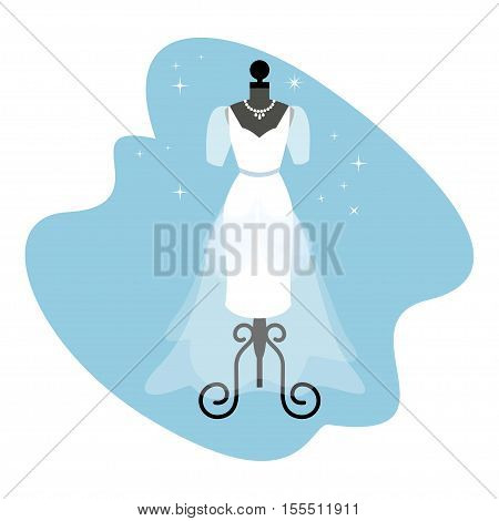 Wedding Dress. Fashionable white gown on mannequin. Bride apparel. Vector