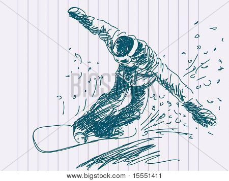 Hand drawn snowboarding Vector. Visit my portfolio for big collection of doodles
