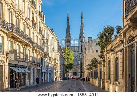 BORDEAUX,FRANCE - AUGUST 31,2016 - In the streets of Bordeaux. Bordeaux is the worlds major wine industry capital.