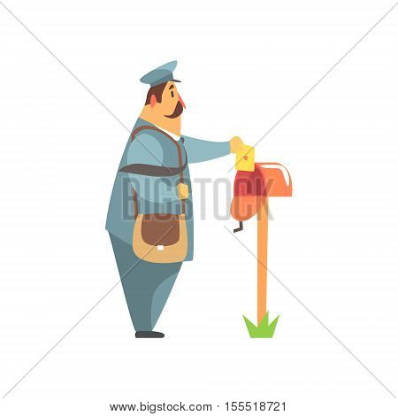 Postman Placing A Letter Into A Mailbox. Graphic Design Cool Geometric Style Isolated Drawing On White Background
