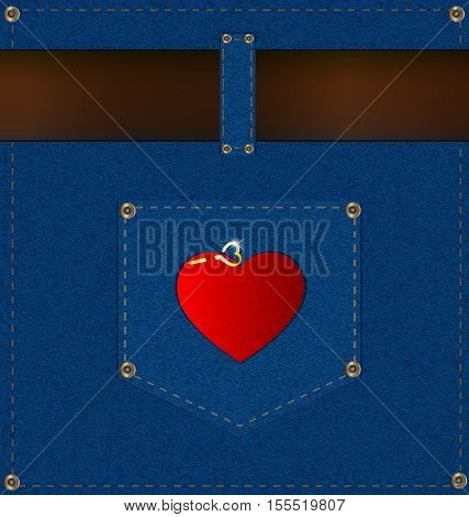 abstract jeans background with the blue pocket, brown belt and red heart
