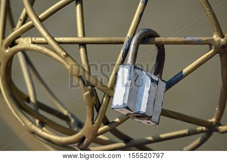 Closeup of a padlock that means promise especially in love stories