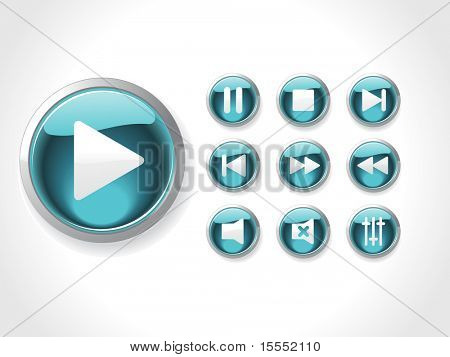 This is media set icons vector