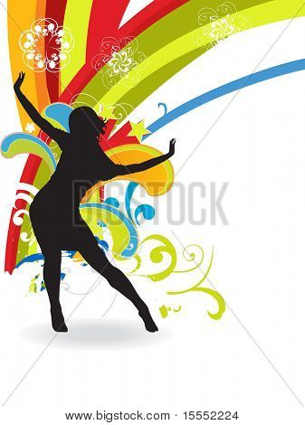 Girl dancing colorful background