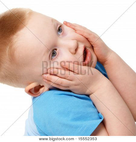 Little Boy Emotionally Grabbed Hold Of Face