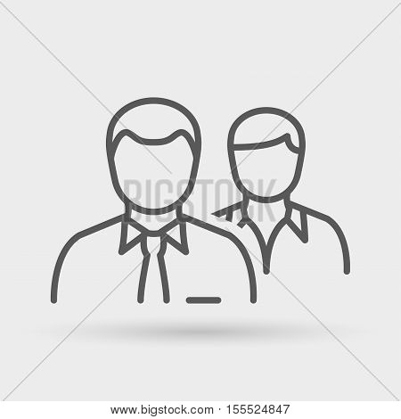 business people line icon in black for business office & human resources.