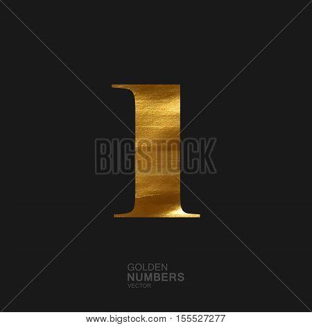Golden number 1. Typographic vector element for design. Part of glow golden painted alphabet. Digit one with golden paint texture. Vector illustration