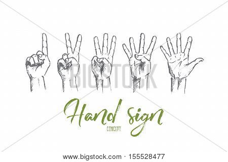 Vector hand drawn hand sign concept sketch. Human fingers showing numbers from one to five. Lettering Hand sign concept