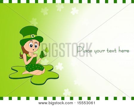 vector cute Irish Girl for Saint Patrick's Day with place for text