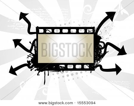 vector art of photo reel with arrow background