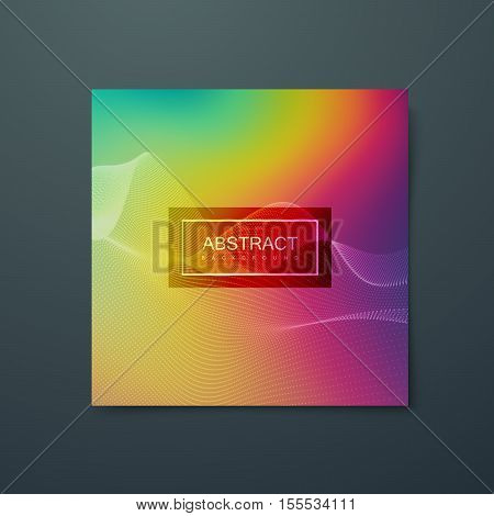 Fluid iridescent background with abstract 3d wave of particles. Vector illustration of particles splash. Applicable for party flyer, banner, poster, brochure, card.