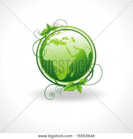 Vektor grüne Erde mit Blättern