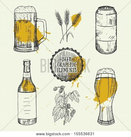 Creative beer set with mug, bottle, can, wheat and hop elements. Vector illustration. Hand drawing graphic objects used for advertising beer festival, beverage, brewery, or bar, pub or restaurant menu.