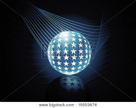 Beautiful vector shiny 3d crystal globe