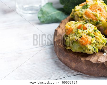 Vegetarian Patties With Carrots And Broccoli. Copy Space