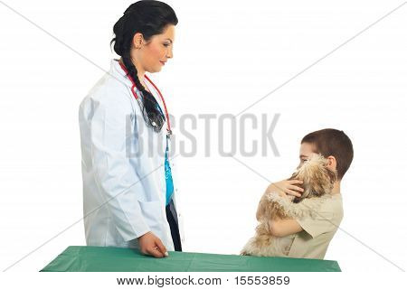 Kid Boy With Puppy Visit Veterinary