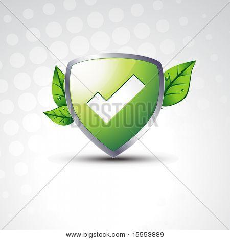 Escudo de vector probados con eco hojas