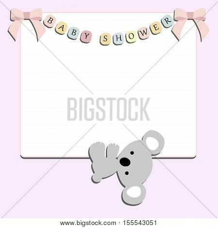 cute baby festive frame with little Koala hanging on a pink background. Template for greeting card or scrapbook album. Baby vector illustration. Baby shower or arrival